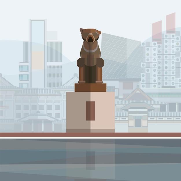 Ilustração, de, hachikō, estátua