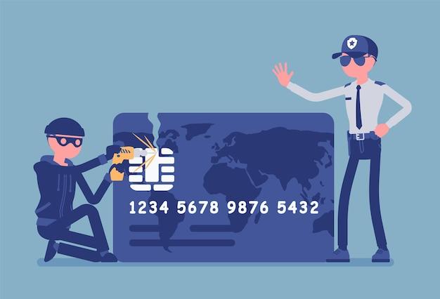 Ilustração de hacking de cartão de crédito