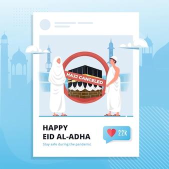 Ilustração de hajj islâmico com símbolo cancelado em modelo de postagem de mídia social