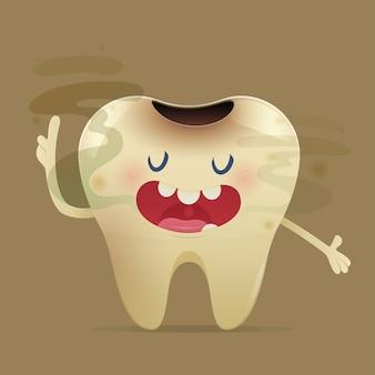 Ilustração de halitose com dente de desenho animado com mau hálito