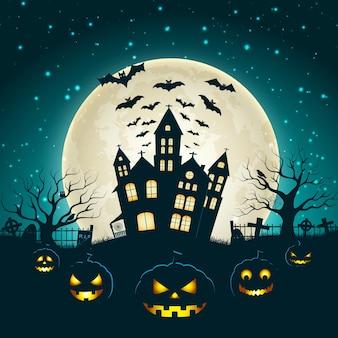 Ilustração de halloween com a silhueta do castelo na lua brilhante e árvores mortas perto do cemitério.