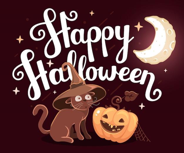 Ilustração de halloween com abóbora laranja e gato no chapéu de bruxa
