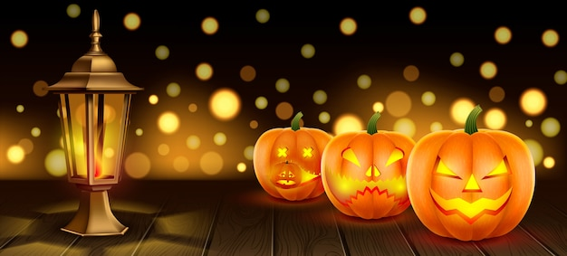 Ilustração de halloween com abóboras com focinhos esculpidos em uma mesa de madeira