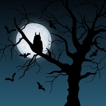 Ilustração de halloween com árvore, lua, coruja e morcegos