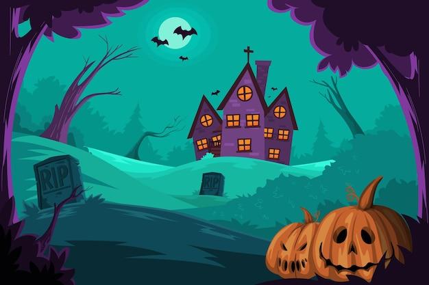 Ilustração de halloween com casa assombrada e abóbora