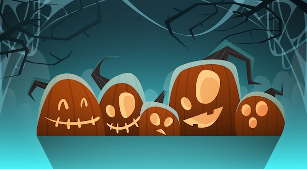 Ilustração de halloween com diferentes abóboras decoração tradicional
