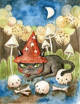 Ilustração de halloween com gato preto e caveiras
