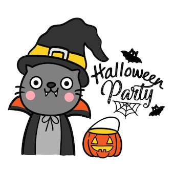 Ilustração de halloween com gato preto.