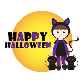 Ilustração de halloween com gatos pretos e a menina usa o costume do gato no fundo da lua adequado para o cartão de saudação e convite do dia das bruxas