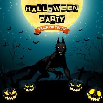 Ilustração de halloween com lobo e abóboras