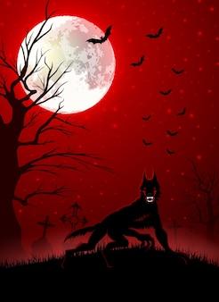 Ilustração de halloween com lobo negro