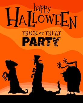 Ilustração de halloween com monstros
