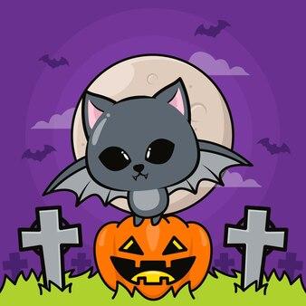 Ilustração de halloween com morcego fofo