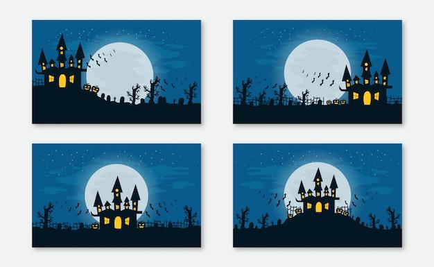 Ilustração de halloween com silhueta de castelo encantado