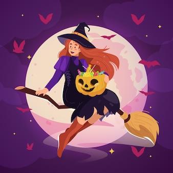 Ilustração de halloween com uma linda bruxa voando