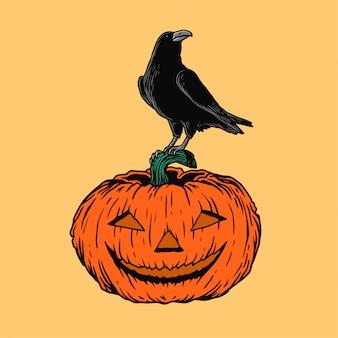 Ilustração de halloween corvo e abóbora