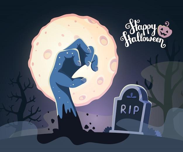 Ilustração de halloween da mão de zumbi em um cemitério com lua cheia