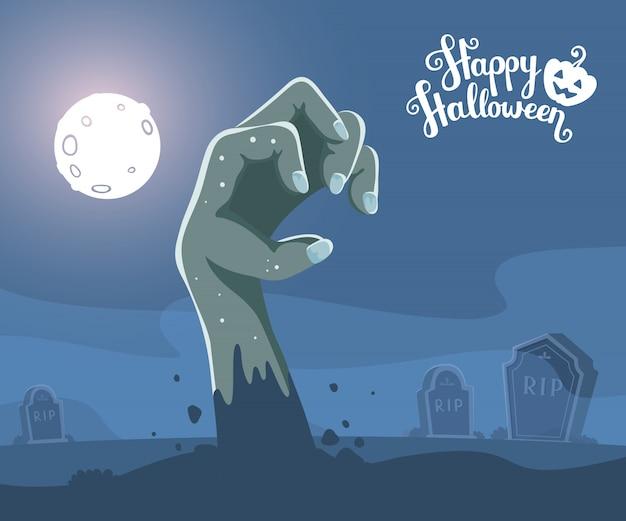 Ilustração de halloween da mão de zumbi em um cemitério e lápide