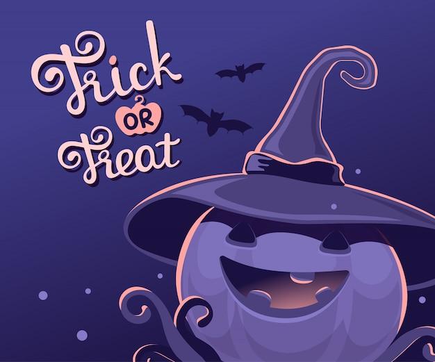 Ilustração de halloween de abóbora decorativa no chapéu de bruxa com boca aberta