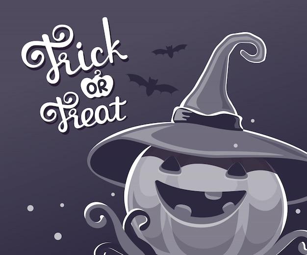 Ilustração de halloween de abóbora decorativa no chapéu de bruxa