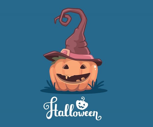 Ilustração de halloween de abóbora laranja decorativa no chapéu de bruxa com sorriso