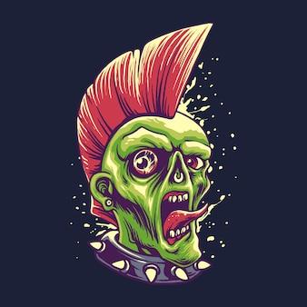 Ilustração de halloween de estilo punk zumbi