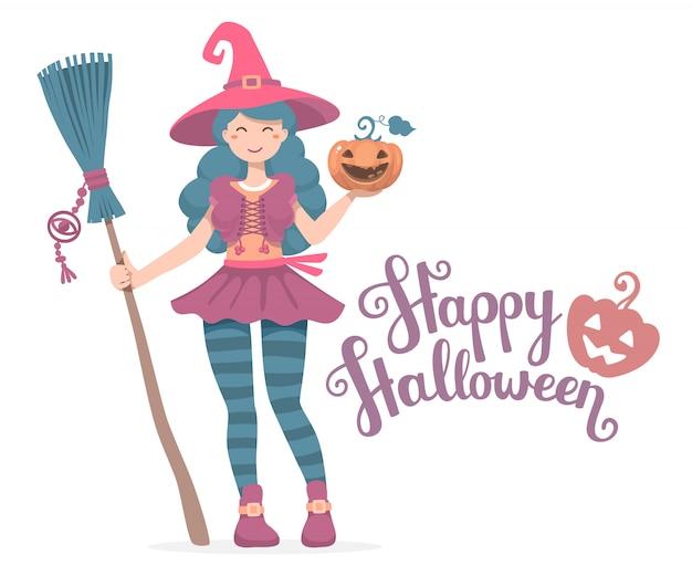 Ilustração de halloween do personagem de bruxa com vassoura, chapéu, abóbora