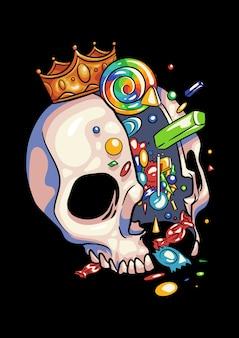Ilustração de halloween do rei dos doces de caveira