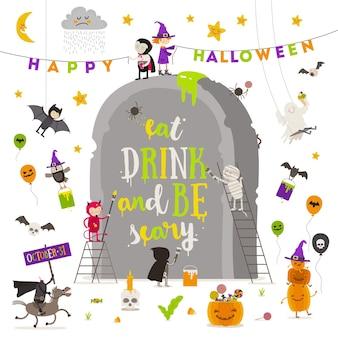 Ilustração de halloween grupo de personagens ativos de halloween ao redor de uma lápide gigante