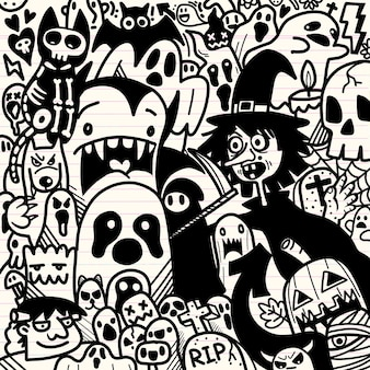 Ilustração de halloween, homem-lobo, assustador, vampiro e bruxa em torno do fundo de elementos do fantasma adorável feliz halloween.