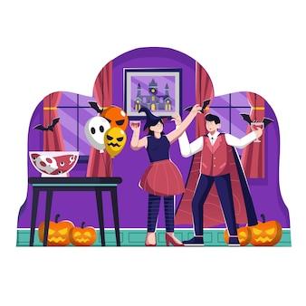 Ilustração de halloween party flat