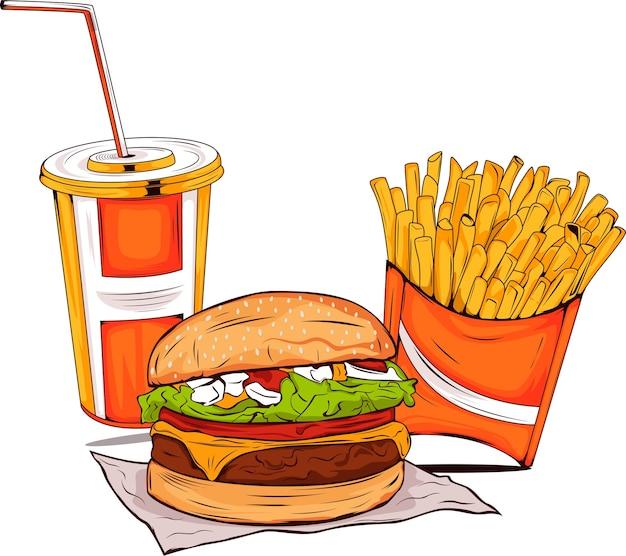 Ilustração de hambúrguer com refrigerantes e batatas fritas fast food