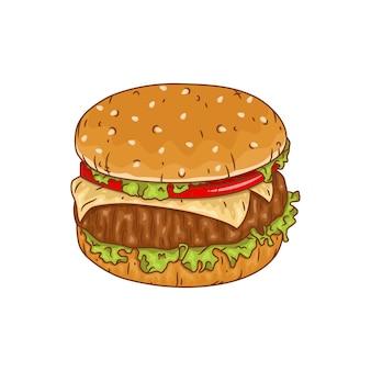 Ilustração de hambúrguer em branco