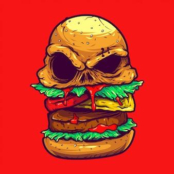 Ilustração de hambúrguer monstro macabro