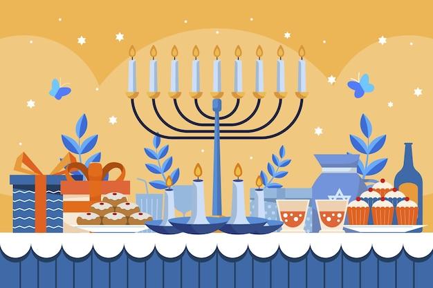 Ilustração de hanukkah plana desenhada à mão