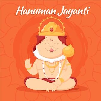 Ilustração de hanuman jayanti desenhada à mão