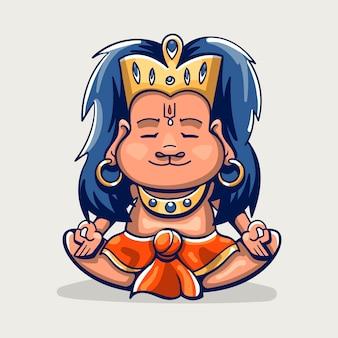 Ilustração de hanuman jayanti dos desenhos animados