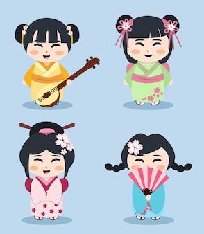 Ilustração de heishas, crianças japonesas, conjunto de meninas orientais