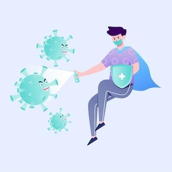 Ilustração de herói do vírus corona
