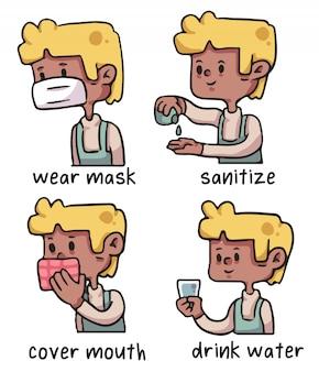 Ilustração de higiene adequada de coronavírus de homem