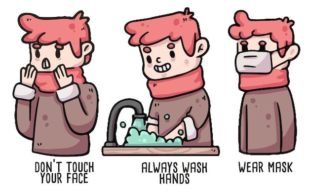 Ilustração de higiene adequada menino covid-19
