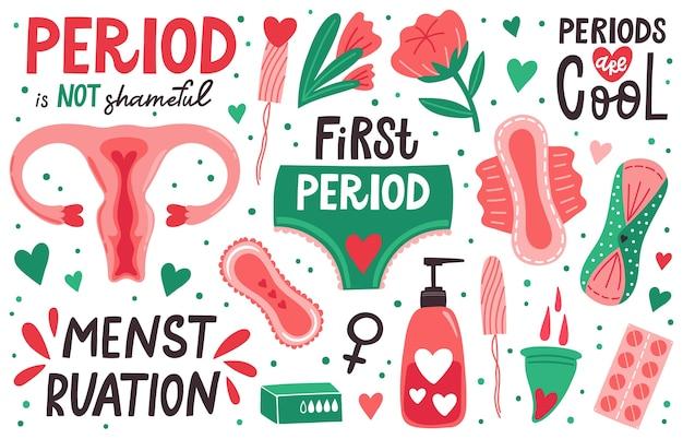 Ilustração de higiene menstruação