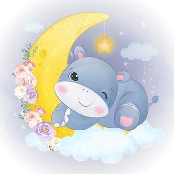 Ilustração de hipopótamo bebê fofo em efeito aquarela