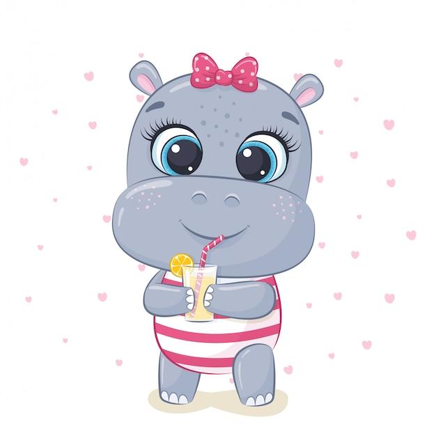 Ilustração de hipopótamo bebê fofo.