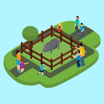 Ilustração de hipopótamo e zoológico