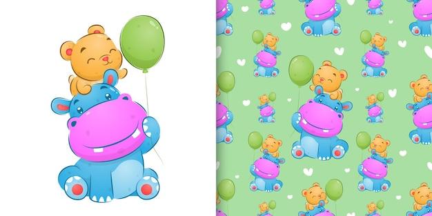 Ilustração de hipopótamo fofo colorido e urso brincando com os balões