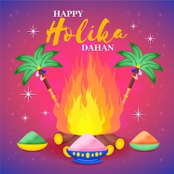 Ilustração de holika dahan desenhada à mão com fogueira