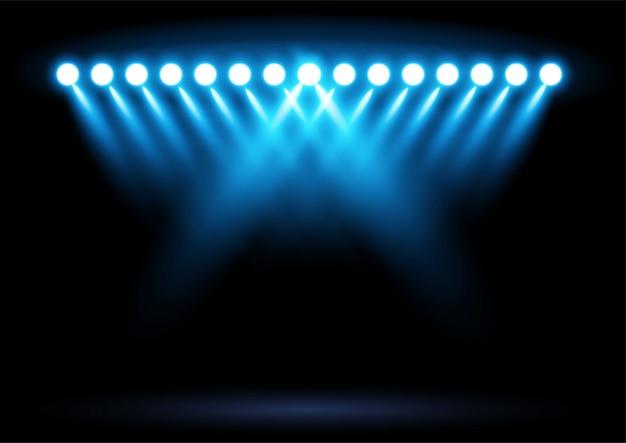 Ilustração de holofotes de iluminação de arena de estádio azul brilhante