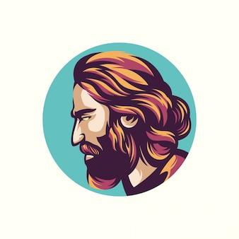 Ilustração de homem barbudo