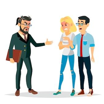 Ilustração de homem chefe zangado